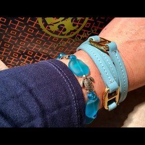Tory Burch Light Blue Gemini Double Wrap Bracelet
